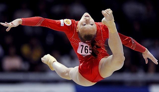 Russian gymnast Yulia Belokobyskaya performs on the balance beam in Tokyo.