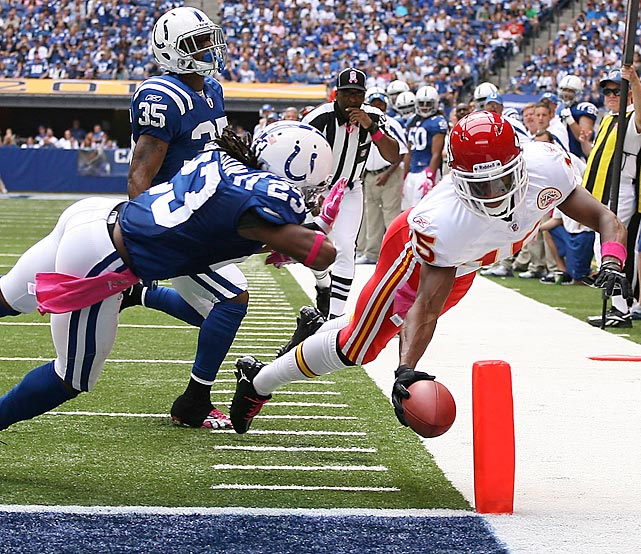 Chiefs wide receiver Steve Breaston dives just inside the pylon after making a catch on the sidelines against the Indianapolis Colts. Breaston's two touchdowns helped Kansas City pick up their first win of the season.