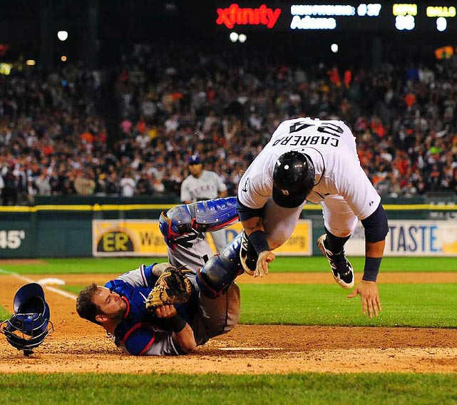 Rangers' catcher Mike Napoli tags out Detroit's Miguel Cabrera in Game 4 of the ALCS. The Rangers won the series in six games.