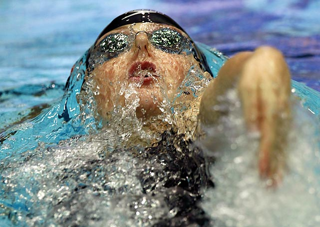 Melissa Franklin backstrokes her way to first place in the 200-meter race during the Arena Swimming World Cup in Russia.
