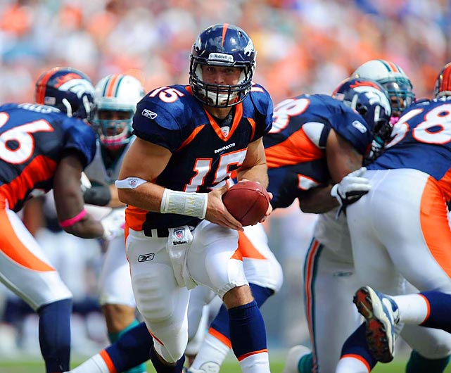In his fourth career start in Denver, Tim Tebow helped stage an 18-15 comeback victory against the Miami Dolphins.