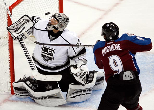 Los Angeles Kings goalie Jonathan Quick makes one of his 13 saves on Avalanche forward Matt Duchene's third- period shot. Duchene scored the game-winning goal in the same period as Colorado won 3-2.