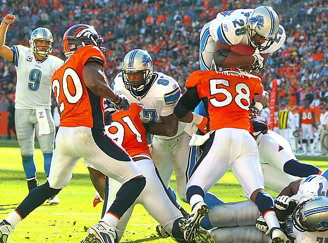 Maurice Morris, starting in place of injured running back Jahvid Best, scores a  touchdown during the Lions' 45-10 demolition of the Denver Broncos.