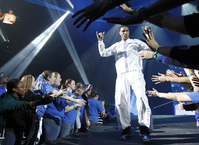 "Kentucky's Twany Beckam greets fans after he was introduced during ""Big Blue Madness"" at Rupp Arena."