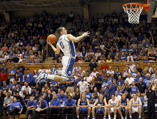 Duke freshman Austin Rivers participates in the dunk contest after the annual Blue-White scrimmage at Cameron Indoor Stadium.