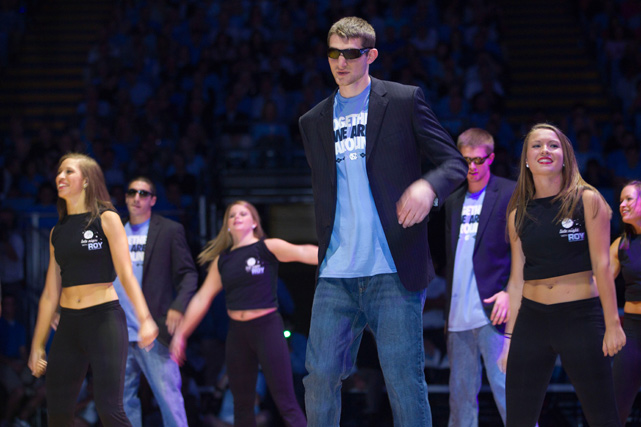 North Carolina's Tyler Zeller does a dance routine during ''Late Night with Roy Williams'' at the Smith Center.