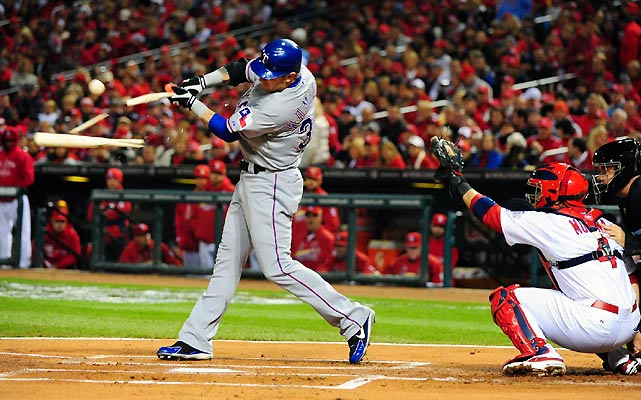 Rangers outfielder Josh Hamilton didn't get a hit in Game 2, but he did drive in the game-tying run with a sacrifice fly in the ninth inning.