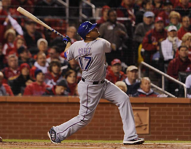 Rangers outfielder and ALCS MVP Nelson Cruz watches a pop fly during Game 2 of the World Series. Cruz finished 0-of-3 with a strikeout.