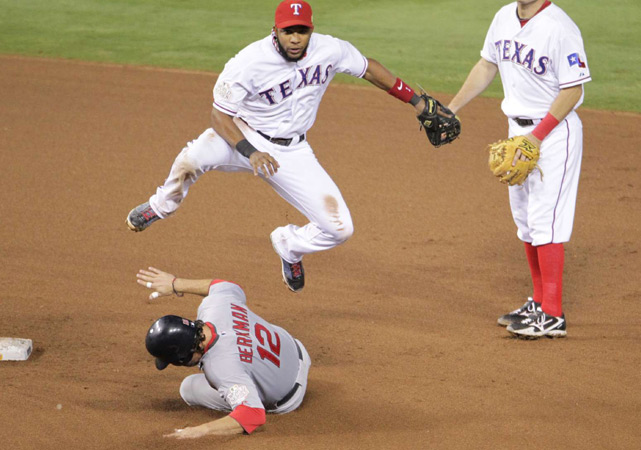 Lance Berkman opened the fifth inning with a single but was erased when Elvis Andrus and Ian Kinsler turned a double play on David Freese's groundball.