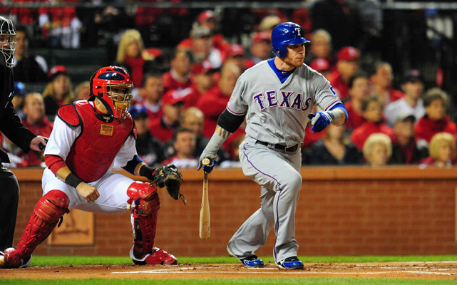 Josh Hamilton's first-inning single to right scored Ian Kinsler and gave the Rangers the early lead.
