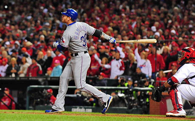 Josh Hamilton's first postseason home run in 82 at-bats give the Rangers a short-lived 9-7 lead in the 10th inning.