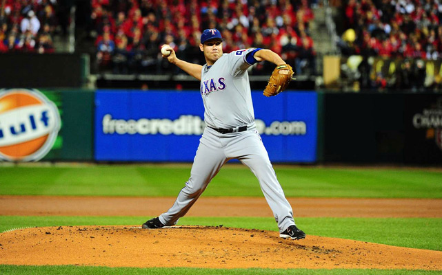 Rangers' starter Colby Lewis allowed four runs -- two earned -- and struck out four in just over five innings.