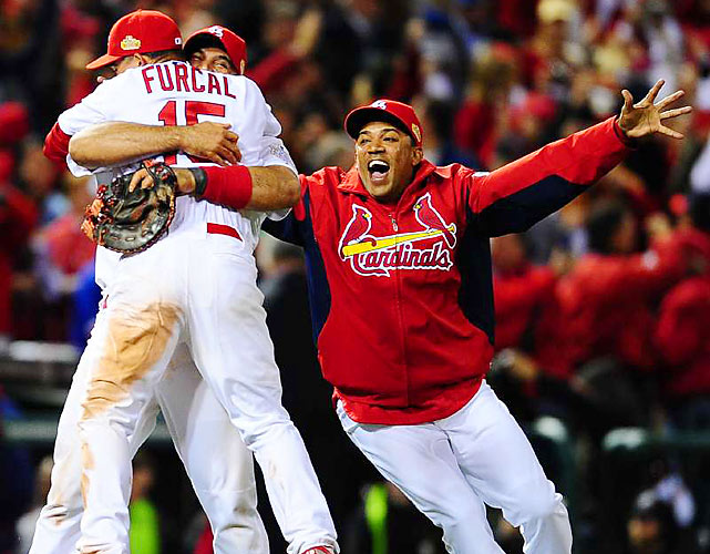 The Cardinals' Jason Motte retired the Rangers' David Murphy with a fly ball and St. Louis captured its 11th World Series crown one day after facing elimination in an epic Game 6.