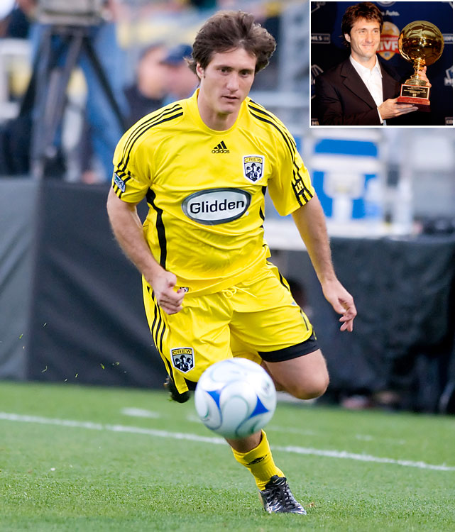 Schelotto, who won the award at age 35, scored seven goals and had 19 assists as the Crew enjoyed a bounce-back season in 2008. They won both the Supporters' Shield (league's best record) and the MLS Cup. Three days after receiving the MVP trophy, Schelotto assisted on all three goals as the Crew beat the New York Red Bulls 3-1 to win the MLS Cup.   Other finalists: Cuauhtemoc Blanco, Landon Donovan