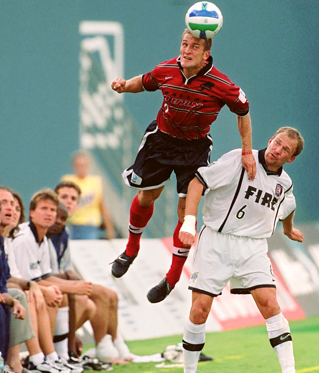 Kreis was the first American-born MVP winner. He moved up full time from the midfield for the 1999 season, and it paid off big time. His 18 goals were an MLS high, though the Dallas Burn fell in the conference finals.   Other finalists: Marco Etcheverry, Jaime Moreno