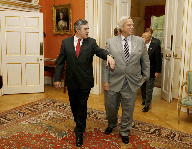 British Prime Minister Gordon Brown meets with Giants' co-owner Steve Tisch inside his office, possibly to discuss the release of Eli Manning.