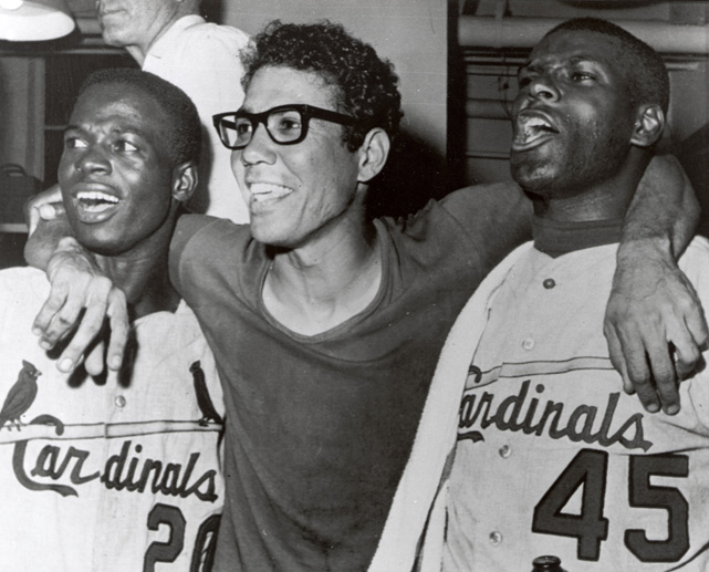 The trio of Cardinals celebrates after beating the Red Sox in seven games to win the 1967 World Series. Brock and Gibson are members of the Hall of Fame.