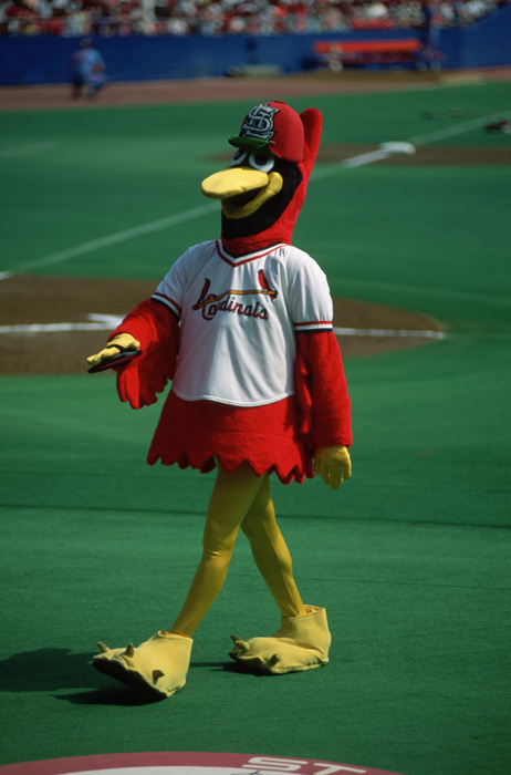 The Cardinals' mascot walks through Busch Stadium. Joe Torre was the team's manager in the early '90s, but he failed to make the playoffs and was replaced by Tony La Russa in 1996.