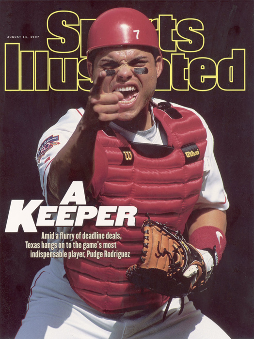 Pudge poses for the Aug. 11, 1997, cover of Sports Illustrated. The catcher is a 14-time All-Star, a 13-time Gold Glove winner and a seven-time Silver Slugger. He won his only league MVP award with the Rangers in 1999.