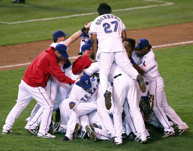 The Rangers celebrate defeating the Yankees' to win their first AL pennant, in 2010. The Rangers would go on to lose the World Series to the Giants in five games.