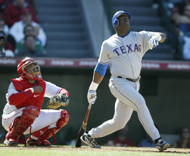 Sierra pops up a ball against the Anaheim Angels in 2003. That was also the year the Rangers traded reigning AL MVP Alex Rodriguez to the Yankees for Alfonso Soriano and Joaquin Arias.