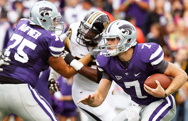 Kansas State allowed two unanswered touchdowns to Missouri late in the fourth quarter, but by then the victory was secure. Collin Klein (pictured) scored all three of the Wildcats' touchdowns, but got a big assist from tailback John Hubert, who piled up 125 yards on 26 touches.