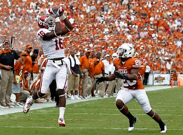 The Red River Shootout turned out to be a Red River Bloodbath. Oklahoma manhandled an overmatched Texas team, holding the Longhorns to 279 total yards and forcing five turnovers. The Longhorns could not stop Sooners' slinger Landry Jones, who connected with Ryan Broyles, Kenny Still and Jaz Reynolds (pictured) at will.