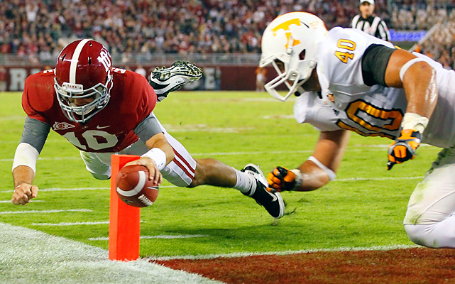 AJ McCarron threw for 284 yards and a touchdown and added this nifty move for another as the Crimson Tide outscored the Vols 31-0 in the second half to pull away. Alabama held Tennessee to 154 yards in total offense.