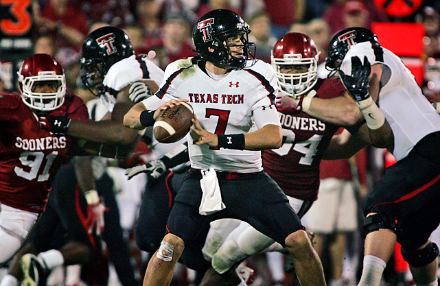 Seemingly invincible for so long at Owen Field, No. 3 Oklahoma finally proved fallible at home. Seth Doege (center) threw for 441 yards and connected with Alex Torres on three of his four touchdown passes, and Texas Tech snapped the Sooners' 39-game home winning streak.