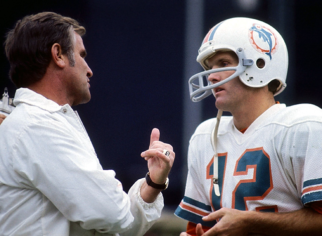 Dan Marino wasn't the only legendary quarterback to play under Don Shula. Before his 107 wins with Marino, Shula totaled 82 with Griese in the 70's. The coach-QB tandem went undefeated in the Dolphins' historic 1972 season and won back-to-back Super Bowls that season and the next. Griese's career was eventually derailed by injuries, but the duo still stands as one of the NFL's greatest to date.