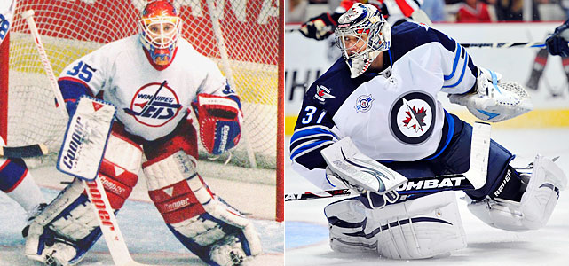 Khabibulin spent his first two NHL season in Winnipeg, going 34-29-7 while splitting time with Tim Cheveldae. He started all six 1996 first-round playoffs games in a loss to the Red Wings and moved with the team to Phoenix.   Pavelec was a second-round pick by the Thrashers in 2005, his playing time gradually increasing each of the last five seasons. He entered this year as the No. 1 in net after going 21-23-9 with a 2.73 goals-against average and a .914 save percentage, both career bests, in 2010-11.