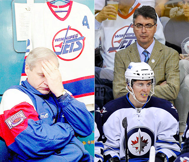 Simpson took over coaching duties from GM John Paddock in the 1994-95 season and then led the club to the playoffs in the final Winnipeg season in 1995-96. He's reacting to the dubious Teemu Selanne trade in this photo.   Noel got his first NHL head coaching gig with an interim tag, taking over for Ken Hitchcock in Columbus for the final 24 games of the 2009-10 season. Noel then coached Winnipeg's Manitoba Moose in 2010-11. When the team relocated to accommodate the Jets' return, Noel stayed, securing his first full-time NHL head coaching gig.