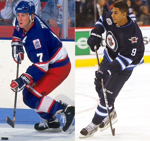 The 19th overall pick in the 1990 draft, Tkachuk debuted at age 19 in 1991. He would be a staple of the Jets' attack the following four seasons and the American face of the franchise as it moved to Phoenix, racking up 98 points in the final Winnipeg season.   Kane was the fourth pick of the 2009 draft and played his first game for the Thrashers at age 18 that same year. One of the NHL's bright young players, he had 19 goals and 24 assists last season. Kane respectfully asked Jets legend Bobby Hull for permission to wear the No. 9 jersey.