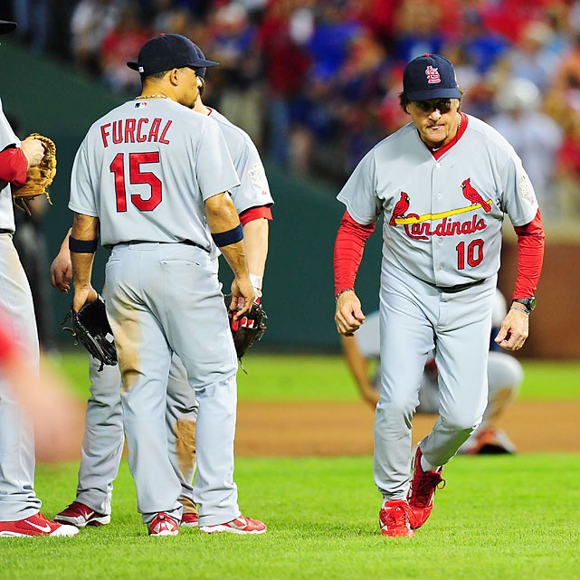 Cardinals manager Tony La Russa made questionable decisions in Game 5, including leaving left-hander Marc Rzepczynski in to face right-handed Mike Napoli then bringing in right-hander Lance Lynn solely for an intentional walk. As it turned out, there were communication issues from the dugout to the St. Louis bullpen.