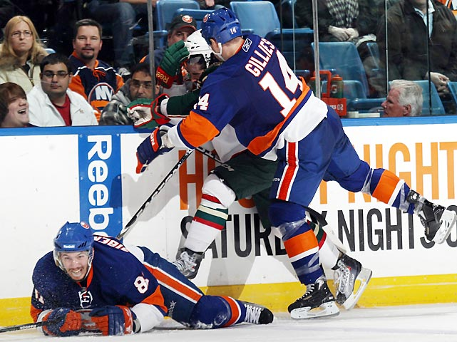 There were many turkeys to choose from in a 2010-11 NHL season littered with brawls, headshots and concussions, but Gillies stands out among the repeat offenders. In his first game back from a nine-game suspension for his role in an epic Feb. 11  donnybrook with the Pittsburgh Penguins, the New York Islander goon laid an illegal shot from behind on Cal Clutterbuck of the Minnesota Wild on March 4 and was promptly served with a 10-game ban by the NHL. The two suspensions sidelined Gillies for nearly a quarter of the season.