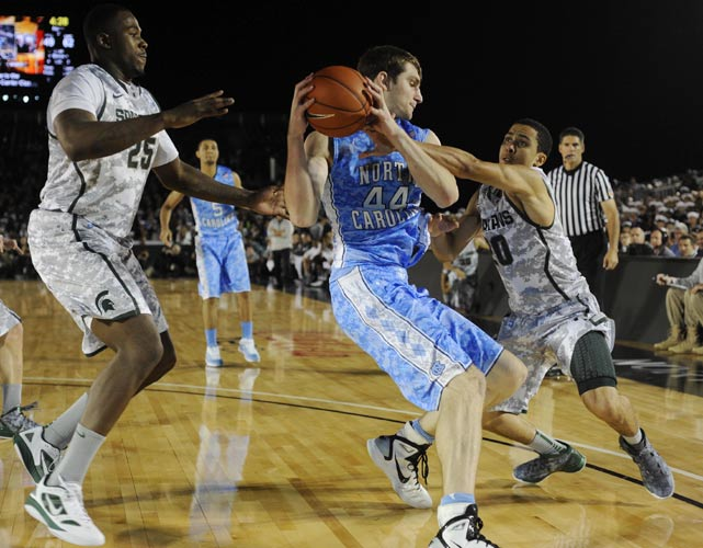 Tar Heels big man Tyler Zeller protects the ball in the post during the second half Friday.