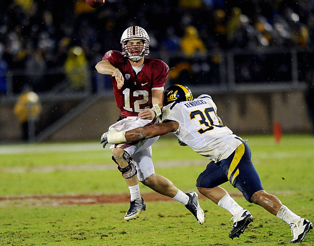 Last week:  20-of-30 passing for 257 yards, two TDs and one INT in a 31-28 win over Cal   Season (11 games):  241-of-343 passing for 2,937 yards, 31 TDs and eight INTs; 39 rushes for 133 yards and two TDs; one reception for 13 yards  Luck's early struggles against Cal weren't completely unexpected, as the field was a mess on a rainy night and he was facing a Bears defense that limited USC's Matt Barkley to 195 yards and leads the Pac-12 against the pass (204 yards per game). Luck needed to dominate a four-loss team, but overall it was a sub-par performance, as he threw an interception for the fourth straight game, the longest stretch of his career. He kept the Cardinal in line for a return to a BCS bowl and could still end Stanford's 41-year Heisman drought, but Luck will have to take advantage of a primetime matchup with No. 22 Notre Dame on Saturday in what's likely his last regular-season game.   Next up:  Saturday vs. No. 22 Notre Dame