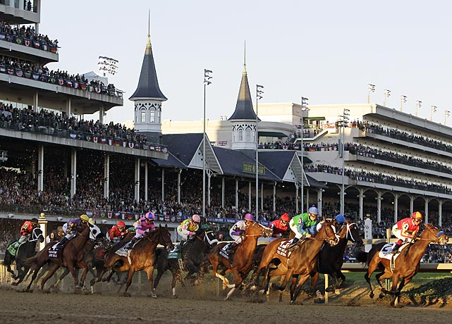 Breeders' Cup contestants race around Churchill Downs in Louisville on Friday. Long-shot Drosselmeyer and jockey Mike Smith picked up the win.