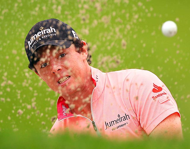 Rory McIlroy chips out of a bunker during an event in Shanghai.
