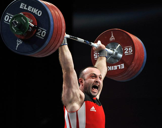 Gia Machavariani of Georgia competes in the World Weightlifting Championships in Paris. He placed fourth in the 105kg weight class.