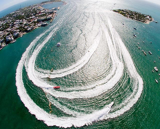 An aerial view of the action from the Key West World Championship powerboat races in Florida.