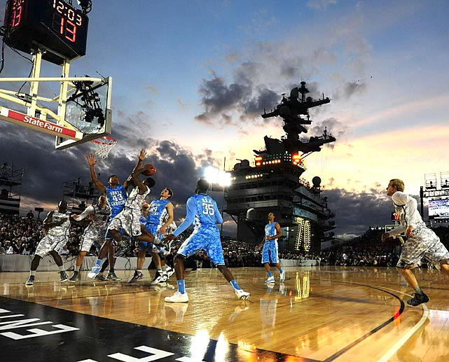 Michigan State and North Carolina tipped off the 2011-12 college basketball season with a game on the USS Carl Vinson. The Tar Heels won the Veterans' Day game 67-55.