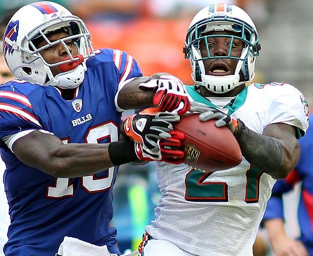 Miami cornerback Vontae Davis defends Bills wide receiver Stevie Johnson. The Dolphins crushed the Bills 35-8.