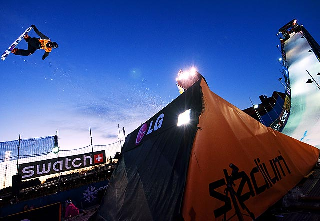 Austria's Michael Macho competes in the Snowboard Big Air competition at the FIS World Cup in Stockholm, Sweden. Macho finished second behind Sweden's Niklas Mattson.