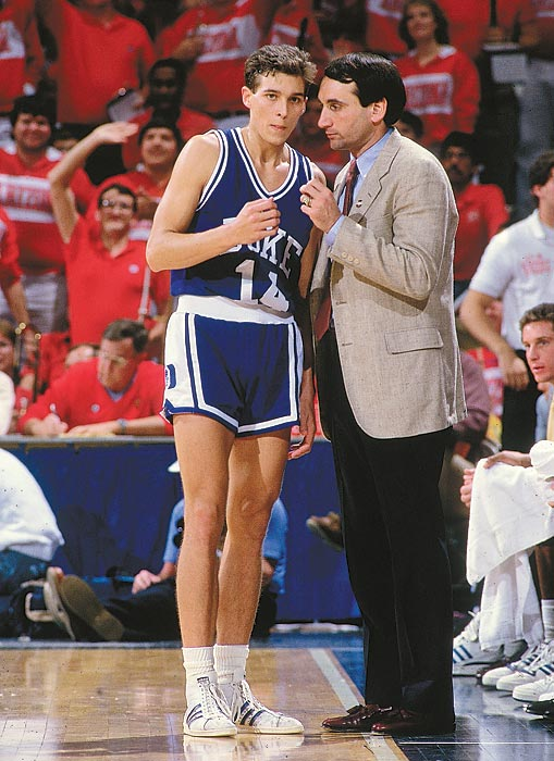 Krzyzewski talks to Quin Snyder during a 1987 game. He was the Naismith coach of the year in 1989, 1992 and 1999.