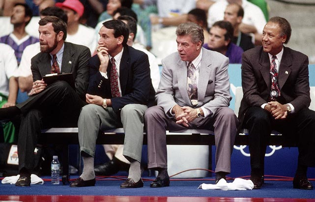 Krzyzewski, P.J. Carlesimo, and Lenny Wilkens were Chuck Daly's assistants during the 1992 Olympics. The Dream Team was the first U.S. Olympic team to feature NBA players. They earned a gold medal by defeating Croatia in the final game.
