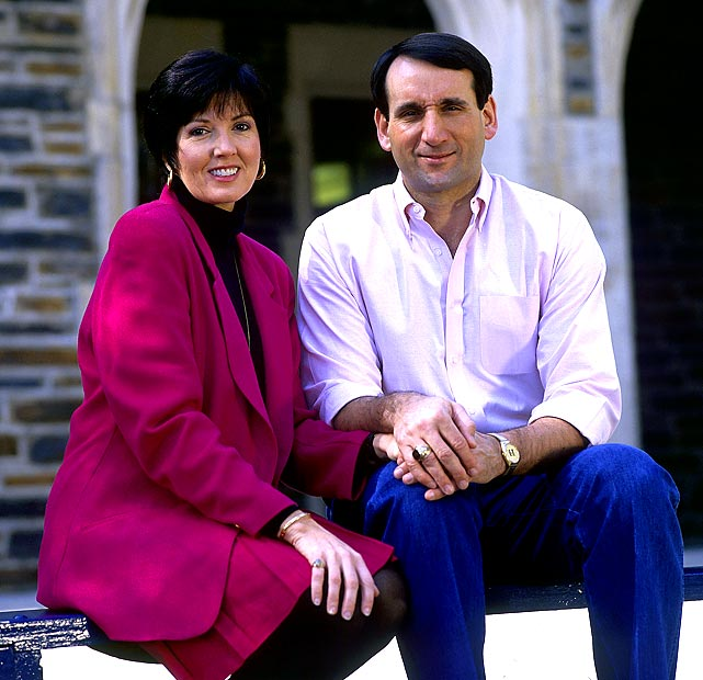Krzyzewski sits next to his wife, Mickie, in 1992. The day Krzyzewski graduated from West Point the couple was married at the Catholic chapel on campus.