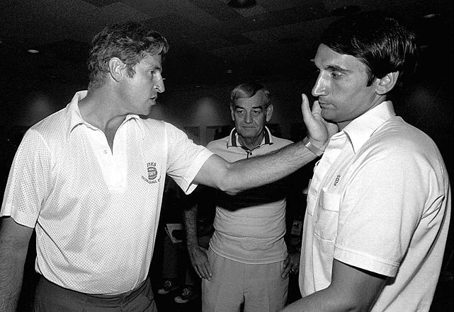 Bob Knight uses Krzyzewski to explain his arrest in San Juan for getting into a pushing match with a Puerto Rican policeman. Krzyzewski was Knight's assistant at Indiana from 1974 to '75 and helped him coach the United States at the Pan American games in 1979.