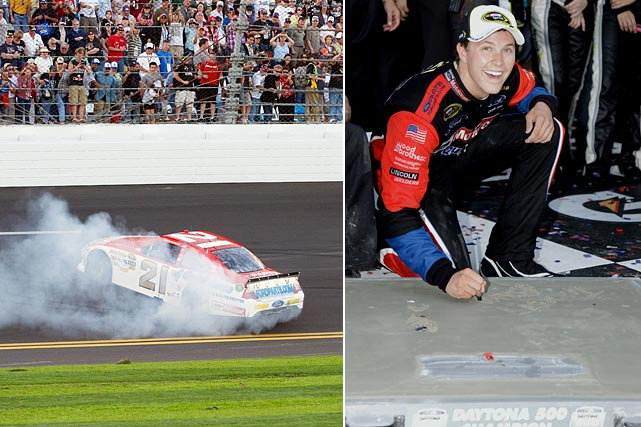 "Bayne earned the respect of many drivers in the field at the Daytona 500, including Jeff Gordon, after he showed an instant aptitude for the two-car tandem style of racing necessary on the restrictor plate tracks. But few drivers -- including Bayne himself -- actually expected the 19-year-old could win NASCAR's biggest race in only his second Sprint Cup start. Bayne thought he would be the ""pusher,"" helping another driver to victory, but when he came off the fourth turn with the lead heading to the checkered flag, Bayne was as astonished as anyone that he won the Daytona 500.  NASCAR's newest star took the oldest team -- the Wood Brothers -- to Victory Lane in the Daytona 500 for the first time since David Pearson won it in 1976."