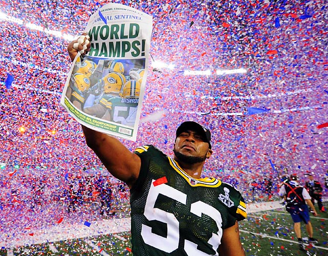 Packers' linebacker Diyral Briggs takes in the moment after Green Bay won Super Bowl XLV.